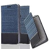 Cadorabo Hülle für OnePlus 5T - Hülle in DUNKEL BLAU SCHWARZ – Handyhülle mit Standfunktion und Kartenfach im Stoff Design - Case Cover Schutzhülle Etui Tasche Book