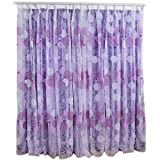 Tongshi Nido Floral gasa cortina de puerta ventana Habitación Cortina Divisor Bufanda (Púrpura)
