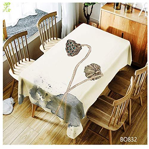 QWEASDZX Mantel Estilo Nacional Poliéster Impresión Digital Mantel Decorativo A Prueba de Aceite Antiincrustante Mantel Rectangular Adecuado para Interiores y Exteriores Reutilizable 140x180cm