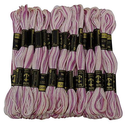 Anchor Ombre double Stranded croix coton fil de broderie point main Floss 25 écheveaux-Lavande et blanc