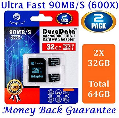 Due Scheda di Memoria MicroSDHC da 32 GB con Adattatore SD (Classe 10 UHS-I Pro Extreme Plus) Microsd SDHC UHS-1 da 32GB Alta Velocità 90MB/s 600X. (Amplim Cellulare Tablet Flash 32G Micro TF Card)