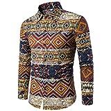 Noël Chemise Homme Shirt Imprimé de Bonhomme Tops Chemise Lin Slim Fit Manche Longue Florale 3D Mode Shirt Chemise Homme Hawaïenne