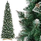FairyTrees Artificiale Albero di Natale Slim, Pino innevato Bianco Naturale, Materiale PVC, Vere pigne, incl. Supporto in Legno, FT09 (250cm, Pino Slim innevato Bianco Naturale)