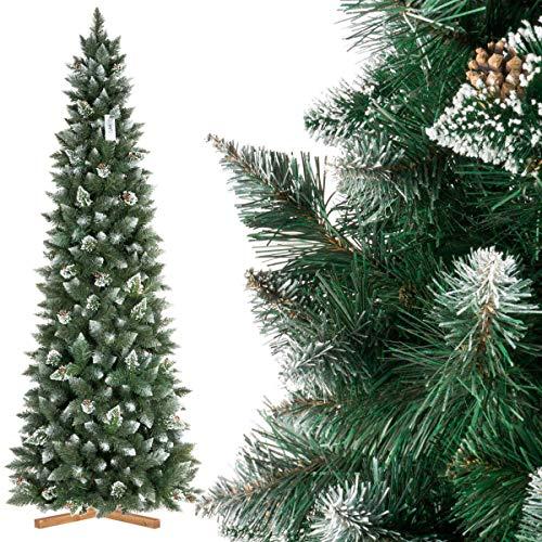 FairyTrees Artificial Árbol de Navidad Slim, Pino Natural Blanco nevado, Material PVC, Las verdaderas piñas, el Soporte de Madera, 250cm