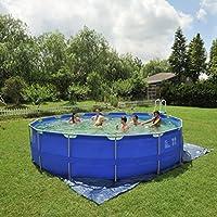 Jilong jl016093nd–P43struttura in acciaio, piscina con pompa filtro cartucce, Scaletta, fondo e telone di copertura, diametro 540x 122cm, Sirocco blu