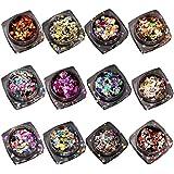 uñas espejo kit Sannysis 12 colores Lentejuelas de espejo para uñas