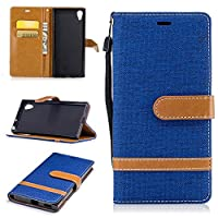 For Sony Xperia XA1/Z6 Case [with Free Screen Protector], Qimmortal(TM) Premium Soft PU Leather Cowboy Cloth Wallet Cover Case with [Kickstand] Credit Card ID Slot Holder Magnetic Closure Design Folio Flip Protective Slim Skin Cover For Sony Xperia XA1/Z6