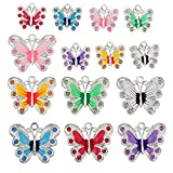 RUBYCA Silver Plated Butterfly Enamel Charm Beads Pendants for Jewelry Making DIY 28pcs