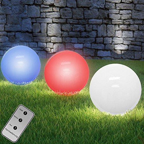 Deuba LED Solarkugeln mit Farbwechsel + Fernbedienung Ø 20cm 4 lichtstarke LEDs | Helligkeit lädt Kugel auf | Fernbedienung | Farbwechsel
