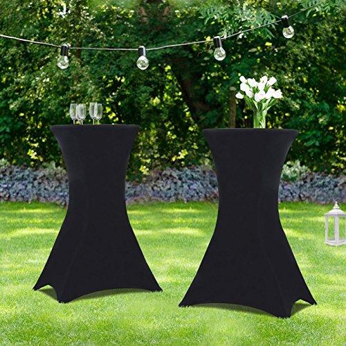 IDMarket - Lot de 2 Tables Hautes 105 cm Pliantes + 2 Housses Noires