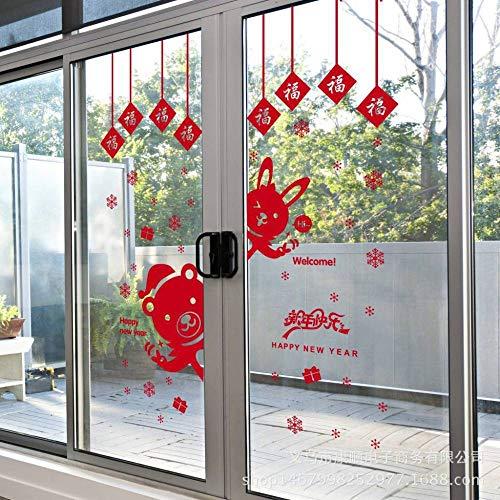 Wisdom Neujahr Dekoration Applique Chinese New Year Glastür Aufkleber Red Window Fenster Tür Dekor,Wie Zeigen,60 * 90 cm (Dekorationen Für Das Chinese New Year)