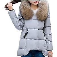 Lulupi Donna Piumino Leggero Invernale Cappotto con Collo Pelliccia Cappotto Imbottito Donna Taglie Forti Irregolare…