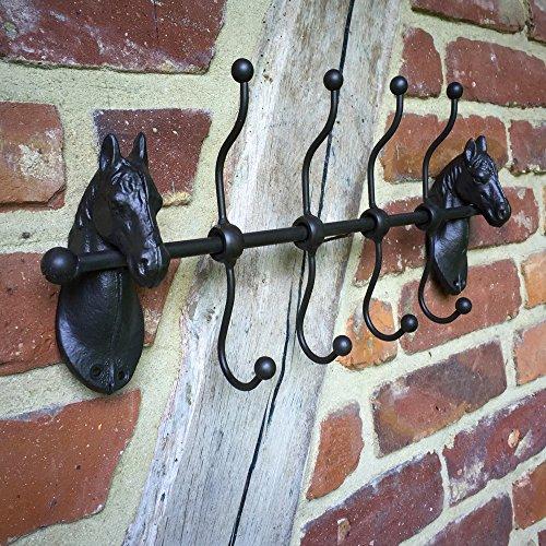 Antikas - Garderobe mit Pferdeköpfen - schöne Flurgarderobe - Wandgarderobe Aufhänger Trensen