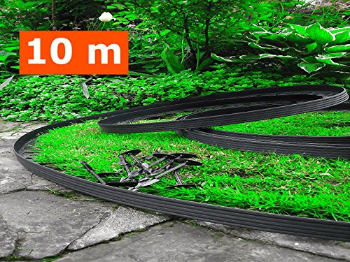 10 Meter - flexible Kunststoff  Rasenkanten  mit 60 Securing  Anker gratis - Flexible Garteneinfassung , Flexible Rasenkanten ,  Kunststoff-Garteneinfassung ,  Flexible Garten Rasen,  Garten-Ideen,  Garten Entwurf. (10, Schwarz)