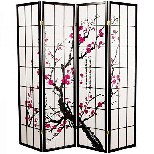 Fine asianliving divisor de espacios–Biombo plegable Protector de japonés Shoji pantalla de papel de arroz 4pantallas de Panel Sakura Cherryblossom muebles decoración del hogar negro estilo japonés de Asia Oriental (papel de arroz)