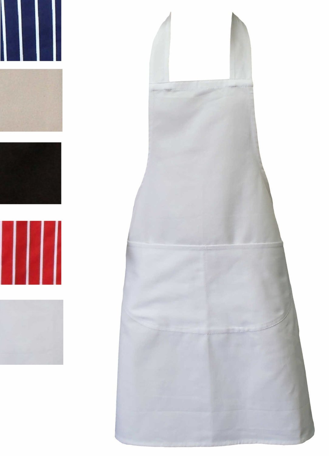 NEW White Kitchen Apron Double Pockets Machine Washable ...