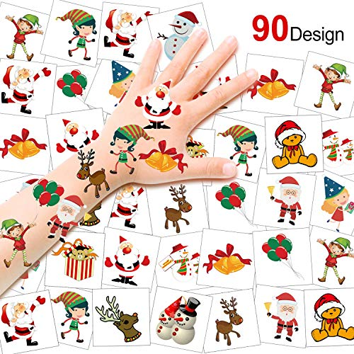 HOWAF 90pcs Natale Tatuaggi temporanei per Bambini, Impermeabili Falso Tatuaggi Natale Tattoos per Bambini Regali, Natale Cosplay Decorazioni, Babbo Natale, Renna, Pupazzo di Neve, 4x4cm