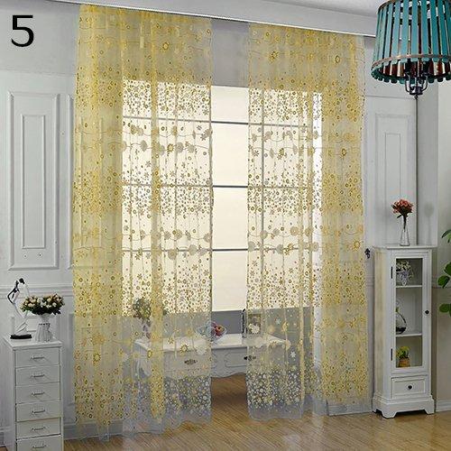Osmanthusfrag porta finestra tenda in voile pastoralen fiori balcone drappi volants transluzenten rod attraverso tenda room decor giallo