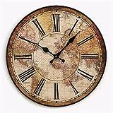 WERLM Personalisiertes Design Home dekorative Wanduhr art Clock retro Garten Wanduhr Wohnzimmer stilvolle und kreative Persönlichkeit Holztisch Fach clock Weltkarte der Wanduhr ist ein Familie Restaurant küchen Büro Schulen sind ideal für alle Zimmer, und φ 34 cm