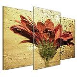 Bilderdepot24 Kunstdruck - Grunge Blume - Bild auf Leinwand - 100x60 cm dreiteilig - Leinwandbilder - Bilder als Leinwanddruck - Wandbild