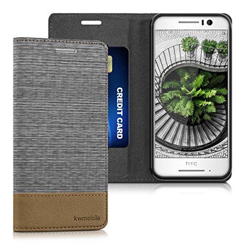 kwmobile HTC One S9 Hülle - Stoff Handy Cover Case mit Ständer - Schutzhülle für HTC One S9