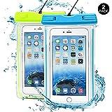 (2 Pack) Wasserdichte Hülle, J2CC Noctilucent Universal-Durable trockener Wasserdichte Handyhülle , Touch Responsive Transparent Staubdichte,Stoßfeste, Schneeschutzanlage Beutel Tasche für iPhone 6, 6 plus, 6s, 6s plus, SE, 5,5C 5S, 4,4S (Blau + Grün)
