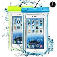 Confezione da 2 pezzi, con custodia impermeabile, J2CC Noctilucent universale acqua resistente, Borsa a secco, Touch reattivi trasparente per iPhone 6, 6 plus, 6s, 6s plus, SE, 5/5S/5C, 4, 4S, colore: blu