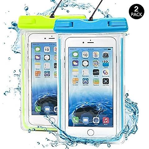 (2 Pack) Wasserdichte Hülle, J2CC Noctilucent Universal-Durable trockener Wasserdichte Handyhülle , Touch Responsive Transparent Staubdichte,Stoßfeste, Schneeschutzanlage Beutel Tasche für iPhone 6, 6 plus, 6s, 6s plus, SE, 5,5C 5S, 4,4S (Blau +