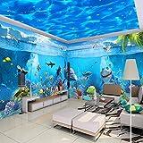 Jonp Custom 3D Fototapete High-End-Blaue Wasser Leitungen Abgehängte Decke Wandbild Wohnzimmer Schlafzimmer Decke Tapeten Für Wände 3D Hintergrundbild Tapete Wallpaper Fresko Wandmalerei 300cmX220cm