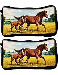 Snoogg Pack De 2Tela Parental caballo funda estudiante pluma lápiz caso bolsa de cosméticos bolsa de monedero