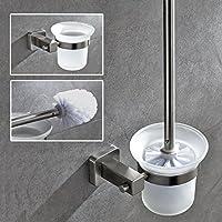 AuraLum® Portascopino da Muro Portarotolo per Bagno WC Gabinetto Nichel