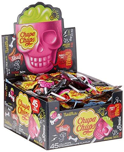 Chupa Chups Skull 3D Lutscher, 45er Thekendisplay, Totenkopf-Lollis, Erdbeer-Limette Geschmack (Halloween Süßigkeiten)
