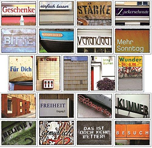 tom bäcker Postkarten Set/Karten Konvolut - 21 Stück schöne Sprache - Worte - Sprüche - Deko - Herz - Leben - Humor - Typografie - Liebe - Wetter - Kuchen