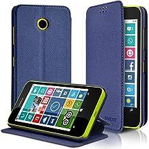 KARYLAX Seluxion - Coque Etui à Rabat Latéral Fonction Support Couleur Bleu pour  Nokia Lumia 635 f6c35728dfe