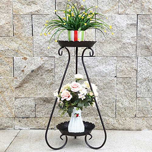 Blumentopf Rack 2-Tier-Scroll Classic Pflanzenständer Metall Garten Patio Stehen Pflanzen Display Regal hält Moderne S Design (weiß, schwarz, Bronze) (Color : Bronze, Size : 32cm*65cm) -