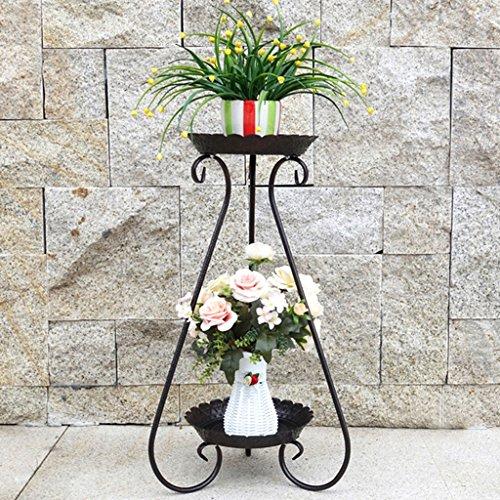 Blumentopf Rack 2-Tier-Scroll Classic Pflanzenständer Metall Garten Patio Stehen Pflanzen Display Regal hält Moderne S Design (weiß, schwarz, Bronze) (Color : Bronze, Size : 32cm*65cm) -