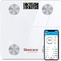 sinocare Bilancia per il grasso corporeo con grasso corporeo e massa muscolare, Bilancia pesapersone Bluetooth con app…