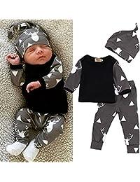 csmrte 3pcs/set recién nacido bebé niña niño ciervo Tops camiseta + Leggings + sombrero trajes pijama Set