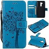 Flip Brieftasche Hülle für LG G7/LG G7 ThinQ,Gostyle LG G7/LG G7 ThinQ PU Leather Blau Case Geprägt Baum Schmetterling Blume Muster Buch Stil mit Karte Schlüssel Magnetisch Schließung Stand Handyhülle
