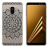 yayago Hülle für Samsung Galaxy A8 2018 / A8 2018 Duos Silikon Schutzhülle Hülle Case Backcover Tattoo Ornament Tribal Design transparent Tasche