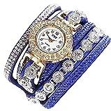 XBY.mi 1PCS Blau Gestrickte Damen Wickeltisch Mode Quarzuhr Armbanduhr