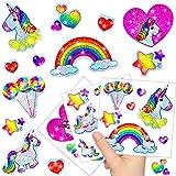 German-Trendseller  12 x Feuilles Sticker de Licorne┃ Autocollants Scintillants┃ différentes Motifs┃Petit Cadeau┃l'anniversaire d'enfant┃décoration et Bricolage