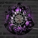 GuoEY The Avengers Shape Vinyl Record Uhr Kreative Hohl Marvel Comics LED Wanduhr Iron Man Captain America Thor Hängende Uhr