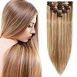 Echthaar Clip in Extensions günstig Haarverlängerung 8 Tressen 18 Clips Remy Human Hair 45cm-70g(#12/613 Hellbraun/Hell-Lichtblond)