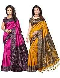 Ishin Combo Of 2 Poly Silk Printed Women's Saree/Sari