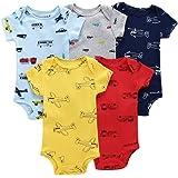 Paquete de 5 Bebé Niños Manga Corta Body Mameluco Algodón Chaleco Conjuntos 12-18 Meses