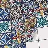 creatisto Fliesenaufkleber Fliesensticker und Deko Fliesenfolie | Mosaikfliesen Folie Sticker Fliesen für Küche u. Bad Wand-Fliesen renovieren und überkleben | 15x15 cm - Motiv Spanisch - 9 Stück