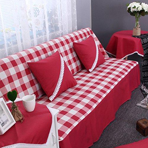 DW&HX Karierte sofabezug,1,2,3,4 sitze Perfekt für kinder und haustiere Anti-rutsch Einfachen und modernen Sofa protector-rot 190x200cm(75x79inch)
