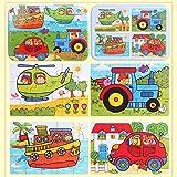 Sipliv Puzzle di puzzle in legno con scatola di ferro per bambini da 2 a 6 anni, 4 pezzi un set, trasporto, stile F