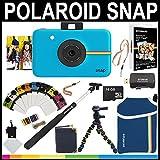 Polaroid Snap Sofortbildkamera (Blau) + 2x3 Zink-Papier (50 Stück) + Neoprenbeutel + Selfie-Pfal + Bilderrahmen + Fotoalbum + 16 GB Speicherkarte + Zubehör-Set